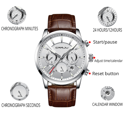 CRRJU New Fashion Men Watches Analog Quartz Wristwatches 30M Waterproof Chronograph Sport Date Leather Band Watches montre homme Karachi