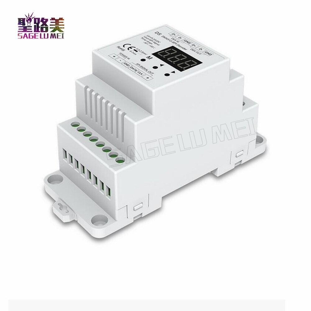 High Quality DC5V 12V 24V DMX512 Signal To SPI Converter DMX Decoder Controller Support 6803/8806/2811/2812/2801/3001/9813 IC