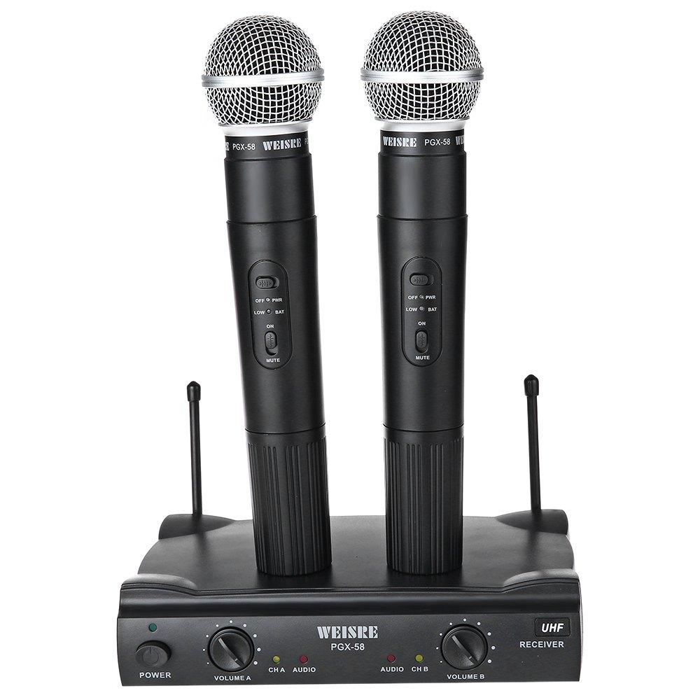 Prix pour WEISRE PGX-58 Professionnel UHF Double Microphone Sans Fil Système Mic pour Soirée Karaoké KTV etc. avec L'UE PLUG