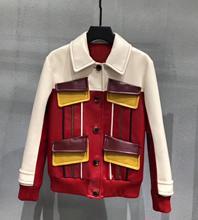 Womens High quality sheepskin pockets leather coat  2019 Autumn real jackets women biker A589