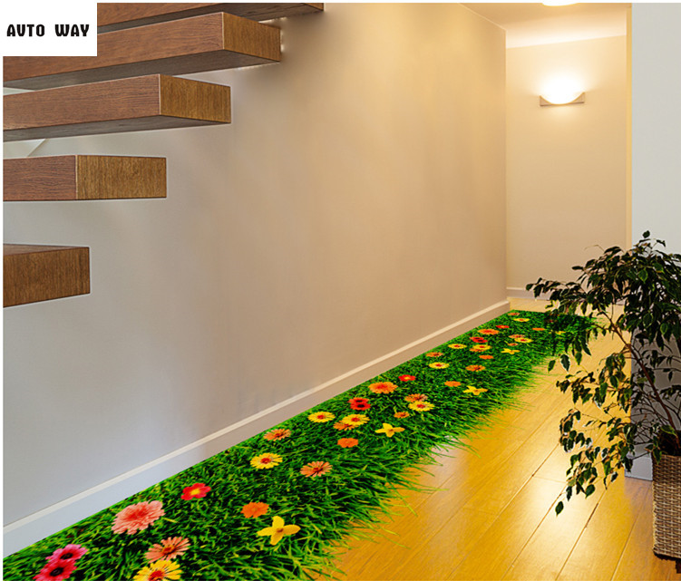 Waterproof decoration to paste 3d three-dimensional wall stickers stickers Bedroom living room floor Creative Meadow Self-adhesi