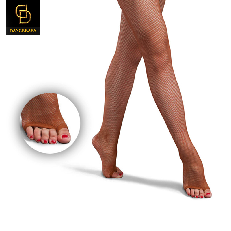 Socks-Net Clothing-Accessories Fishnets-Toe Latin Dance Caramel with Crotch Professional