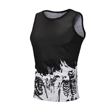 Fashion Strap Men Tank Top Animal Cute Cat Printing O-Neck Sleeveless Polyester Summer Casual Sport Men Vest