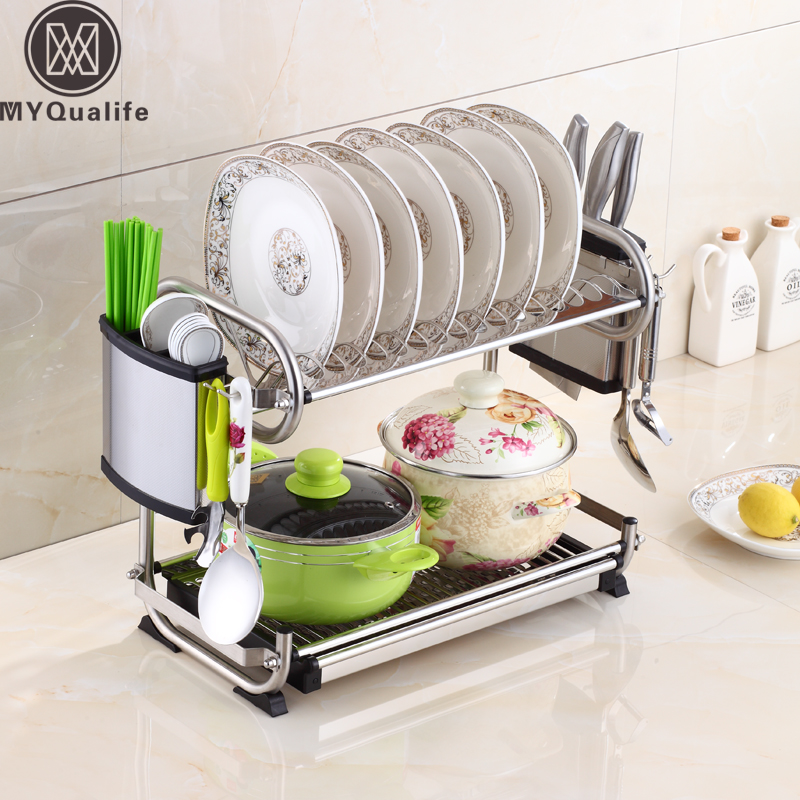 Deck Standing Dish Rack Set 2-Tier Stainless Plate Dish Cutlery Cup Rack With Tray Steel Drain Bowl Rack Kitchen Shelf
