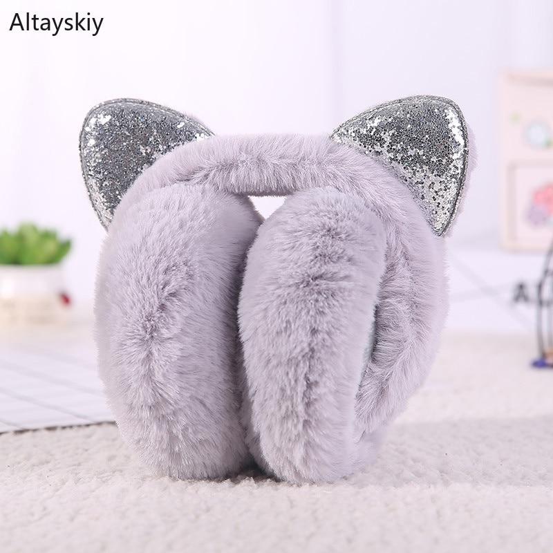 Earmuffs Women Cat Ears Shiny Bling Harajuku Kawaii Thicker Winter Korean Style All-match Leisure Streetwear Furry Plus Velvet