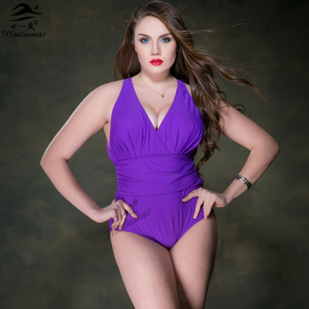 Hot New Arrival Summer Beach High quality Plus Size Backless & Deep -V Sexy Women One Pieces Swimwear Solid Wire Free Swimsuit