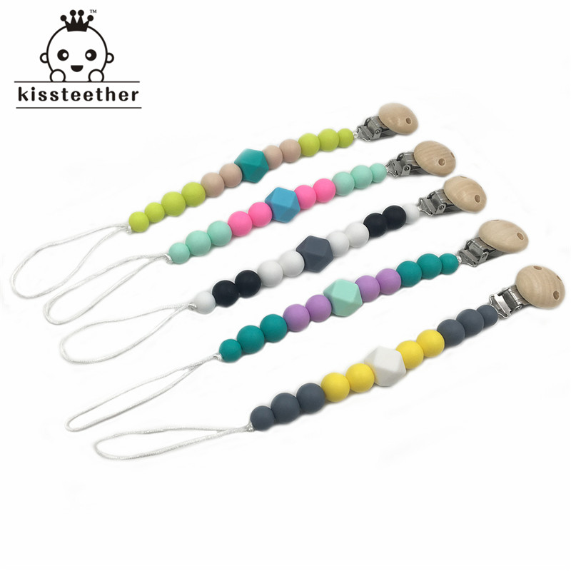 5pcs Silicone Chew Beads Pacifier Clip Nursing Teething Wooden Dummy Holder Baby Silicone Teether Food Grade Pendants недорго, оригинальная цена