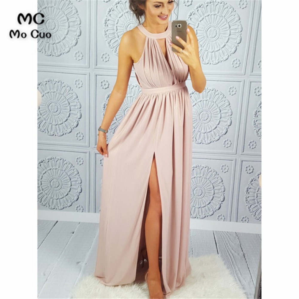 In Stock Evening Dresses Long Prom Gown Pleat Front Split Chiffon Zipper Back Halter Formal Evening Party Dress for Women