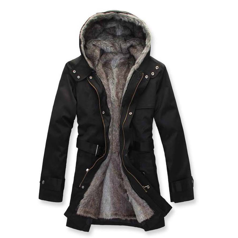 MA001 Holiday sale Men's Winter Coat with Faux Fur collar Hooded ...