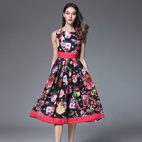 2017 High Quality Summer Dress Women S Boho Floral Print Red Fashion Boho Sexy Evening Party