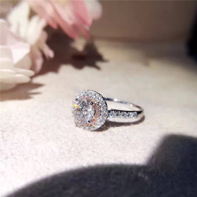 CC S925 Silver Wedding Rings For Women Charms Queen Princess Ring Round Pink Stone Bridal Engagement Jewelry Drop Shipping CC593 5