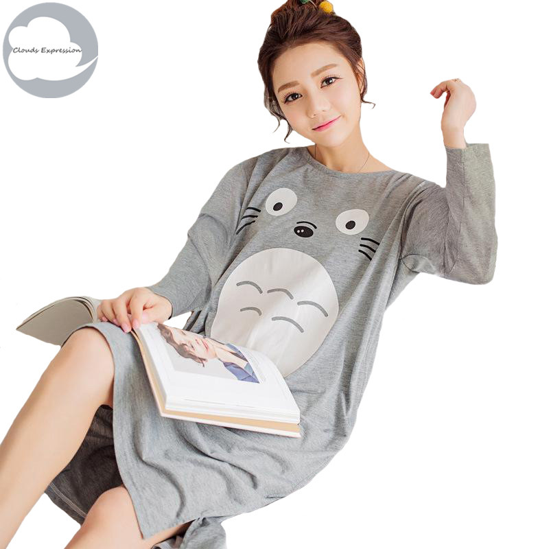 New Long Sleeved Polyester Women's   Nightgown   Lounge Nightdress Girl Sleepwear Casual Nightwear Loose   Nightgowns     Sleepshirts