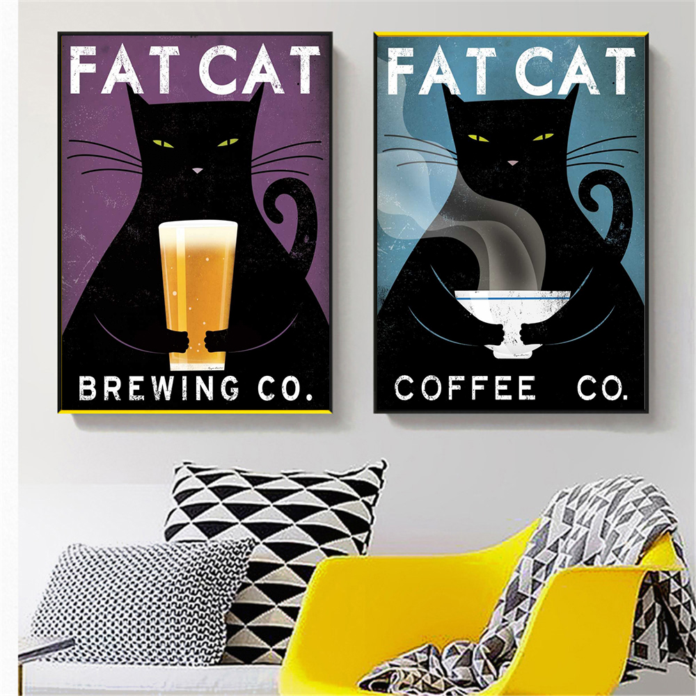 Wall Art Rerto Fat Cat Black Cats Posters And Prints Decor Canvas Pictures For Living Room Decoration Home Cuadros In Painting Calligraphy From
