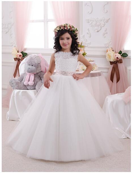 Girls Wedding Formal Dresses 2018 Sleeveless Lace Gauze Flowers Girls Princess Dress Kids Backless Long Party Prom Dress White half sleeve toddler girls show performance lace flowers white christening noble wedding princess bowknot party formal dress