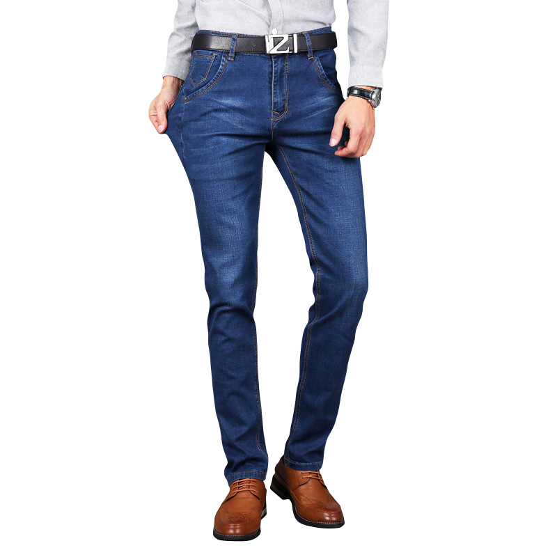 New Men Jeans Business Casual Thin Summer Straight Slim Fit Blue Jeans Stretch Denim Pants Trousers Classic Cowboys Young Man new 2016 famous brand men jeans male pants casual stretch slim straight long man trousers jeans for men denim pants y433
