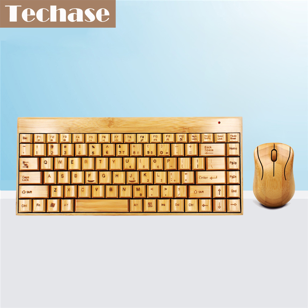 Techase Wireless Keyboard and Mouse Combo Suit Bamboo Mini Teclado E Mouse Sem Fio խաղային տներ նոութբուքի համար Klavye Mouse Set