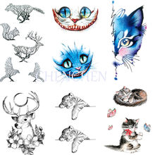 Temporary Tattoo sticker for body art cat deer rabbit bird fish mermaid water transfer flash tattoo fake tatoo for girl women(China)