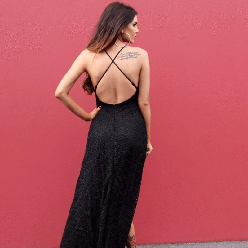 MUXU summer party 2018 black suspender lace dress sexy vestidos women clothing robe femme long dress backless fashion sukienka in Dresses from Women 39 s Clothing