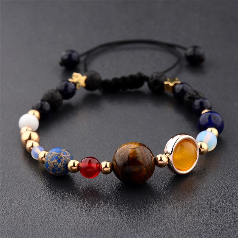 New Hot Galaxy the Eight Planets in the Solar System Guardian Star Natural Stone Beads Bracelet Bangle for Women & Men