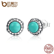 BAMOER Original 925 Sterling Silver Birthday Blooms Earrings, December, Turquoise Stud Earrings for Women Jewelry PAS431