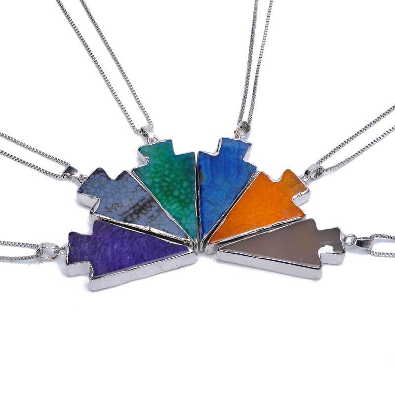 382983ae6a2c Nueva moda triángulo forma natural druzy piedra plata color Colgantes Collares  para las mujeres collares joyería