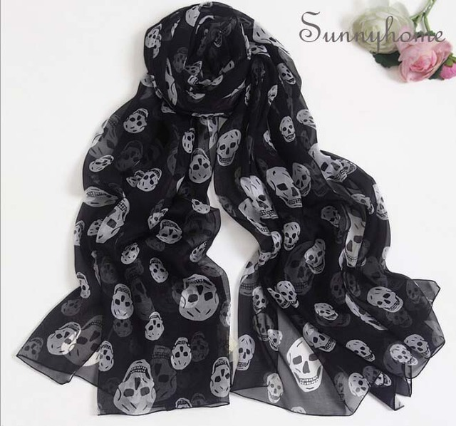 Black printed Skull 100% Silk pashmina hijab fall fashion brand scarves for women shimmer scarf burb shawl winter Wraps