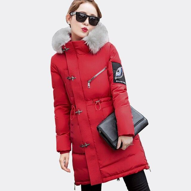 Новый 2016 Зимняя Куртка женщин Меховой Воротник Капюшоном Хлопка-Проложенный Зимнее пальто Женщин Одежда Сгустите Теплой Одежды