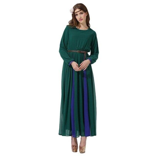 Урожай Мусульманин Длинное Платье Шифон Кафтан Абая Джилбаба Исламская Женщины Коктейль
