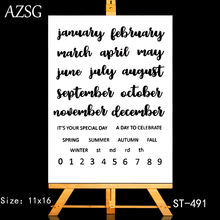 AZSG Calendar Month Number Season Clear Stamps/Seals For DIY Scrapbooking/Card Making/Album Decorative Silicone Stamp Crafts