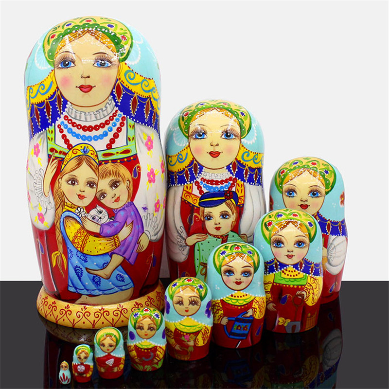 Mnotht Top Grade Wooden Russian Dolls Carving Hand-Painted 10 Layer Dry Basswood Matryoshka Doll Education Toys Decor L30