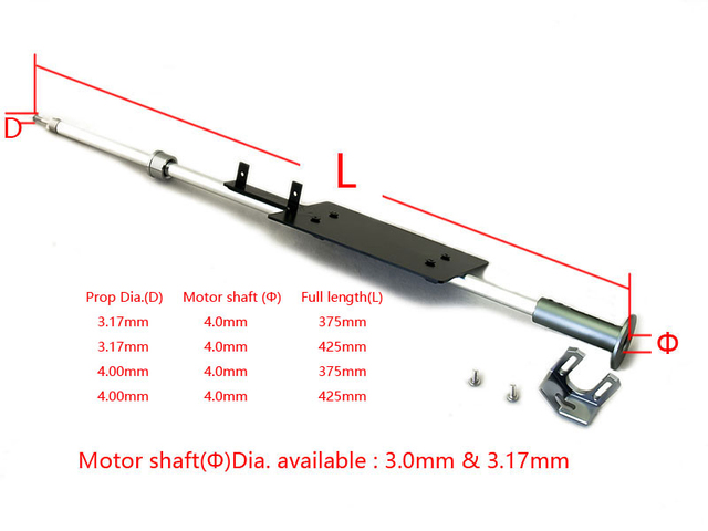 All-In-One Shaft Set for V HUll RC Boat  375/425mm Length , Apply for 4/3.17mm Prop Hole Diameter Hard Shafting for Boat