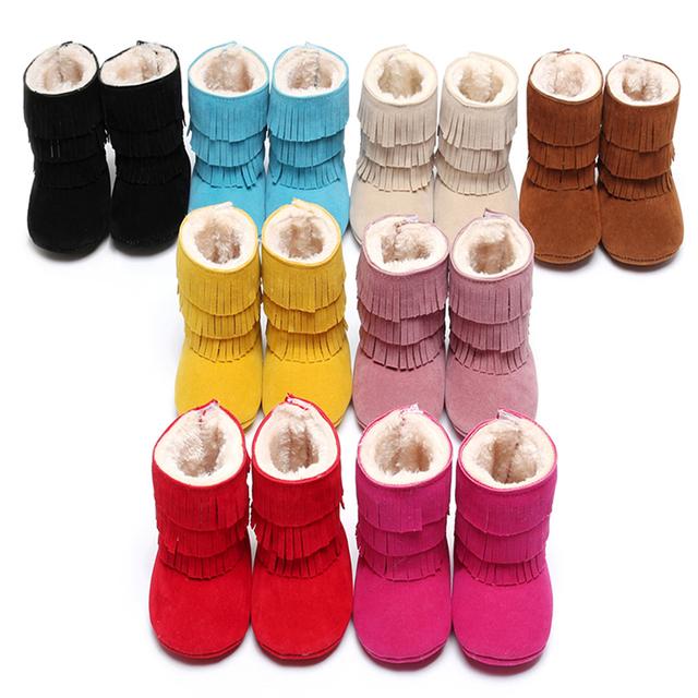 Doce Cor sólida Oferecem o Dobro Tassle Decoração Moda Artesanal De Costura Inverno Linda Bebês Macio Soled PU De Couro Primeiro Walker