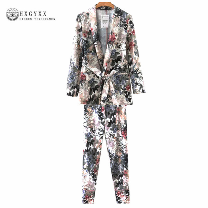 Women's Trouser Suit Cross V-Neck Long Sleeve Wiped Kimono Blazer And Printed Wide Leg Trousers Of Two Piece Set Suits  OKD029