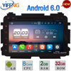 "8"" 4GB RAM 32GB ROM Octa Core Android 6.0 DAB 4G WiFi Car DVD Multimedia Player Radio Stereo For Honda Vezel HRV HR-V 2014-2016"