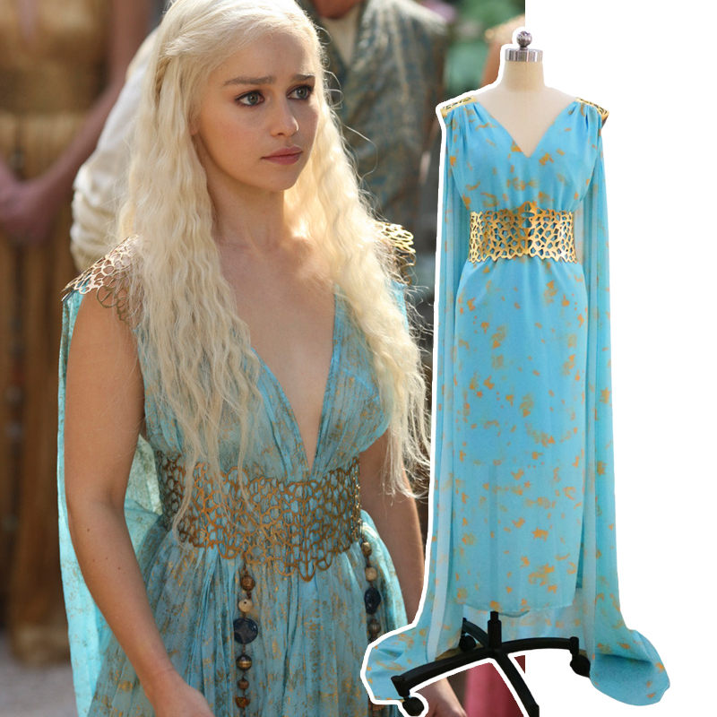 Fantastic TV series Game of Thrones Dragon Mother Daenerys Targaryen long blue Wedding Dress Costume Halloween party