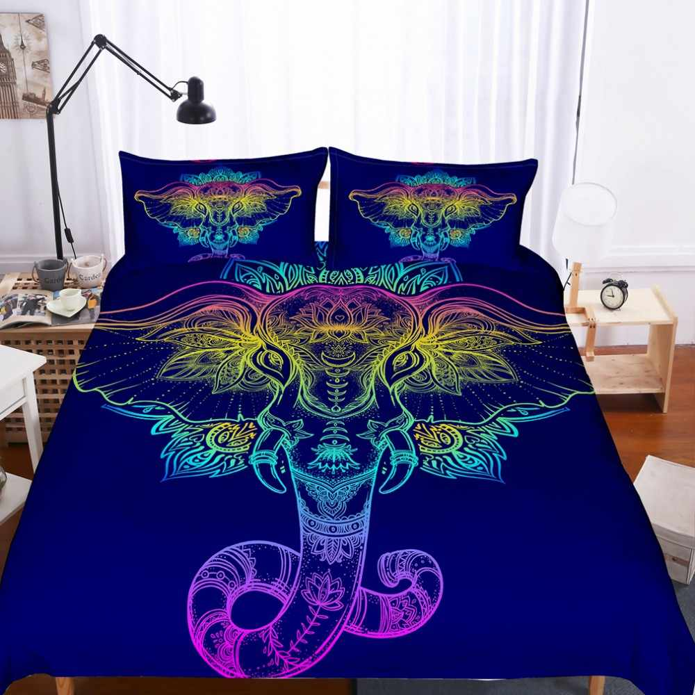 3pcs Colorful Elephant Black Bedding Set Queen King Twin Size Bohemian Duvet Cover Mandala Bed Set Animal Print Quilts Bedspread