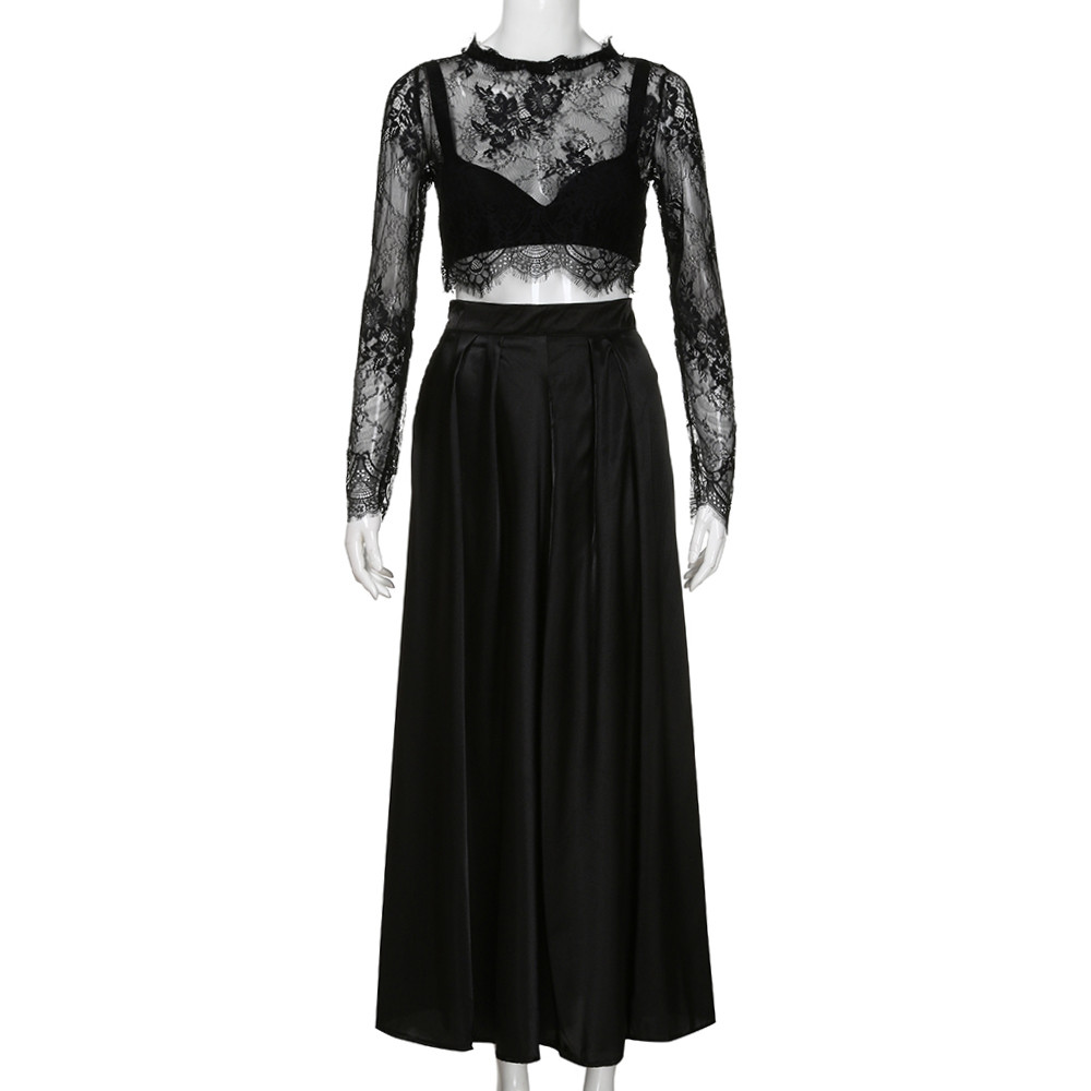 f0358ff7a6c1f Fashion Women Black Elegant Party Long Maxi Pleated Skirts Floor Length  Plus Size Female A line Skirt With Lace Blouse M30MA17-in Skirts from  Women s ...