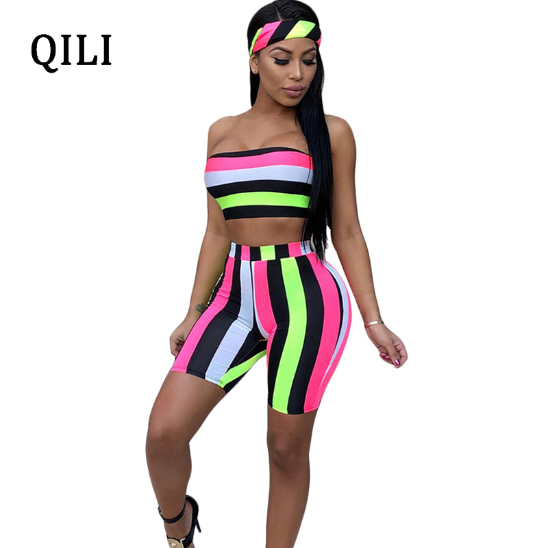QILI Colorful Striped Sexy Off Shoulder Rompers   Jumpsuit   Summer Women Casual Two Piece Set Beach Rompers Short Pants   Jumpsuit