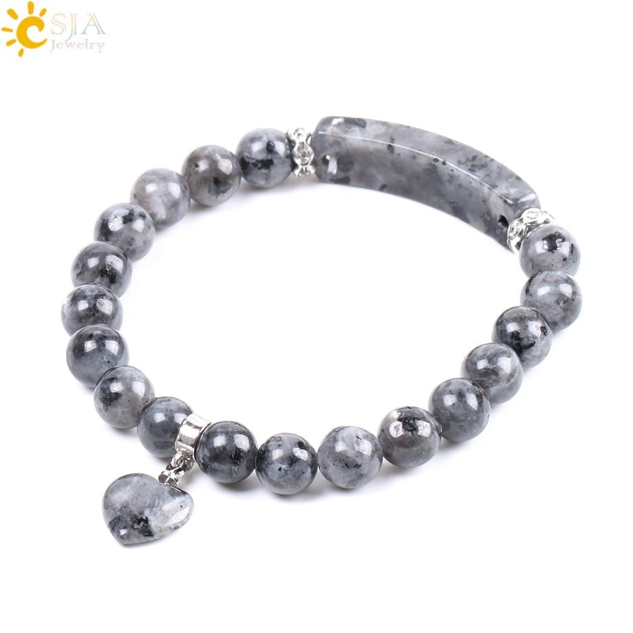 CSJA Natural Stone Bangles Love Heart Charm Bracelets Spectr
