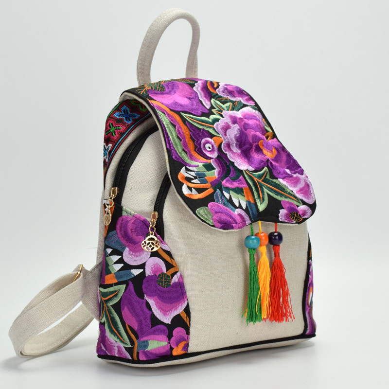 Women's Flowers Embroidery Backpack Girl's Fashion National Style Mini Creative Handmade Cotton Backpack Ladies Tassel Bagpack
