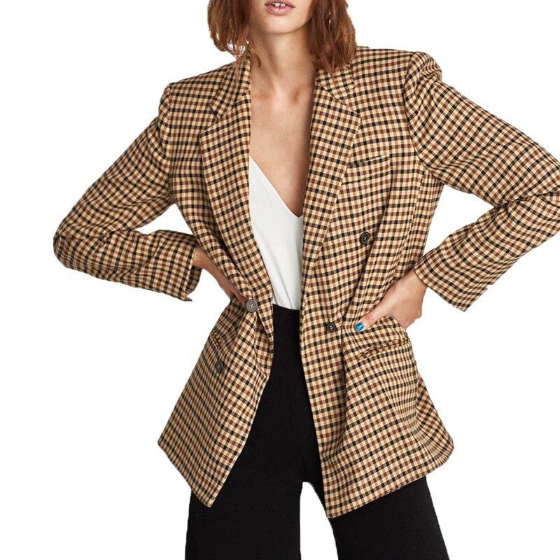 2019 весенняя куртка Женская Повседневная клетчатая куртка хаки женская одежда пальто с длинным рукавом Женская