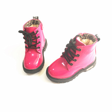 Winter Children Martin Boots PU Leather Waterproof Kids Snow Boots Wiht Plush Boys Rubber Boots Fashion Girls Sneakers