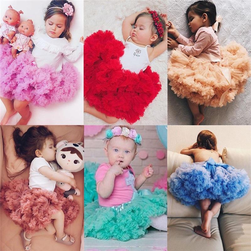 PUDCOCO/Милая юбка-пачка принцессы для маленьких девочек, балетная пышная многослойная юбка-американка из тюля вечерние танцевальные От 0 до 5 лет