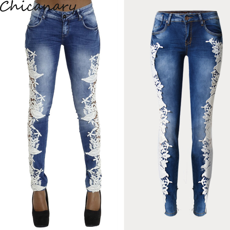 ФОТО Lace Women Jeans Plus Size Sexy Hollow Out Flower Hook Tight Feet Pencil Pant Skinny Plus Size Woman Jeans