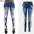 Rendas Jeans Mulheres Plus Size Sexy Oco Out Gancho Flor Pés Apertados Lápis Pant Skinny Plus Size Jeans Mulher