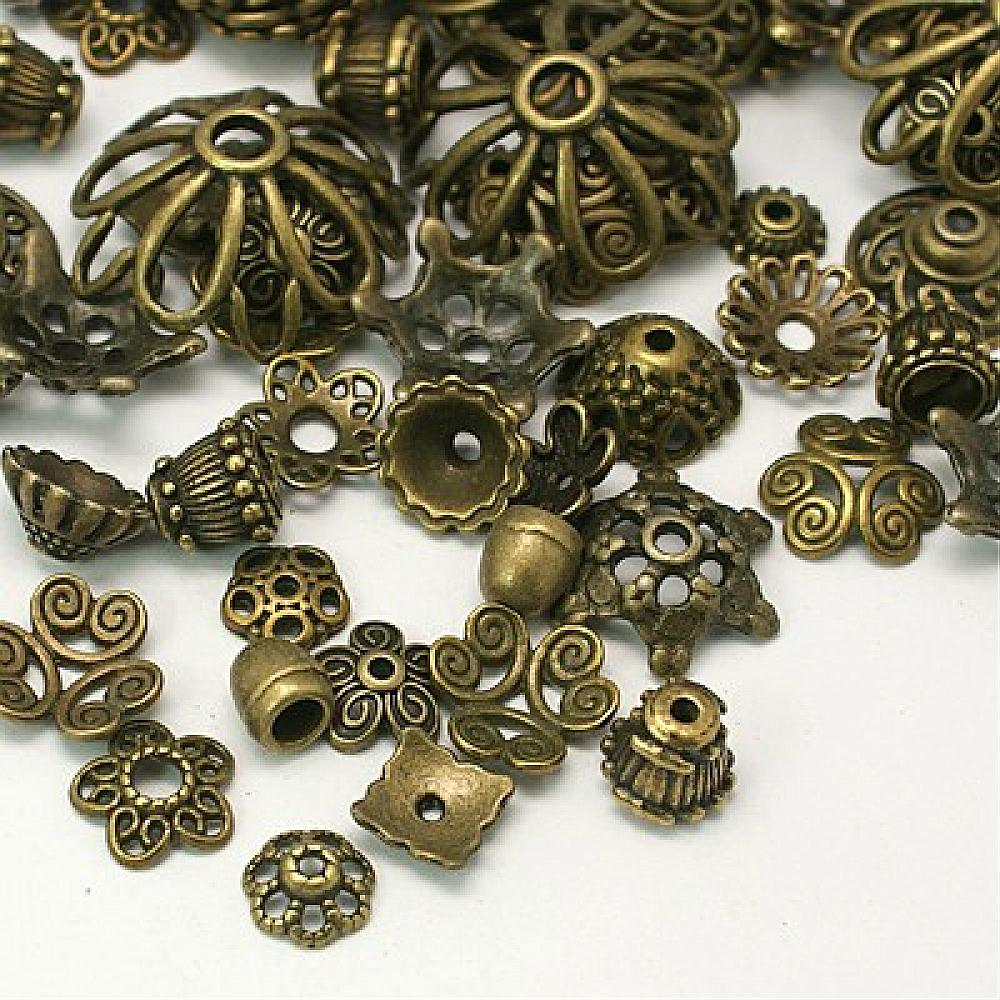 Fits 6-8mm Beads 100 Gold Plated Brass Ribbed Bead Caps 6x1.5mm