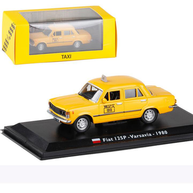 Yellow color <font><b>1</b></font>:<font><b>43</b></font> Scale Metal Alloy Classic <font><b>FIAT</b></font> 125P Varsavia 1980 cab Taxi <font><b>Car</b></font> <font><b>Model</b></font> Diecast Vehicles Toys F Collection image