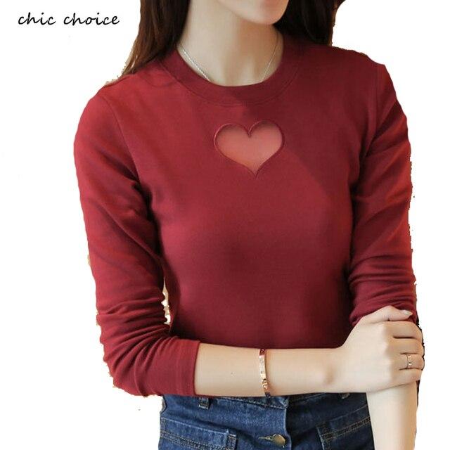 Women Fall Autumn Hollow Out Heart Shape Shirts Long Sleeve Tees Mesh Insert Cotton T Shirts Femeninos