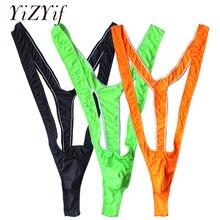 96293769c5fce YiZYiF Fluoro Sexy Men Mankini Thong Stretch Gay Underwear Sissy Thongs G  String Jockstrap Bodysuit Gay