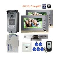 Free Shipping BRAND 7 Color Recording Video Intercom Door Phone 2 Monitors RFID Access Doorbell Camera